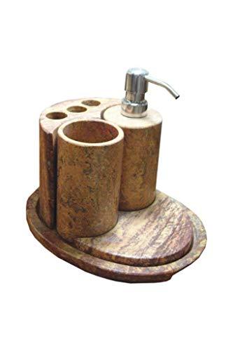 Badset 5-teilig mit Seifenspender, Zahnglas und Zahnbürstenhalter in Rot (Rojo Travertino) aus Onyx Marmor. Badset ist ein handgemachtes Unikat von Künstlern aus der Onyx Art Manufaktur in Mexiko