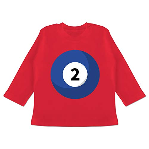 Karneval und Fasching Baby - Billard Kugel 2 Kostüm - 18-24 Monate - Rot - BZ11 - Baby T-Shirt Langarm