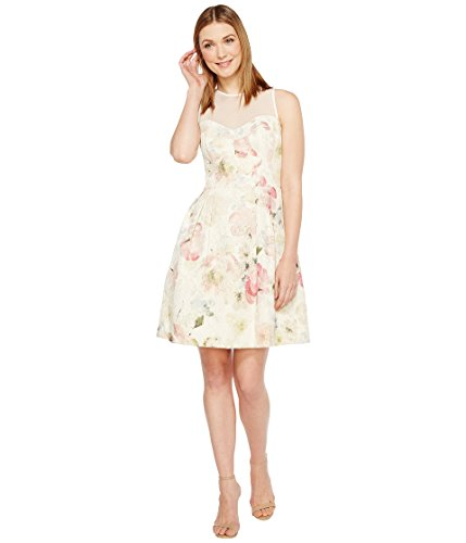 Maggy London Women's Metallic Brocade Fit and Flare, Soft White/Multi, 14 -