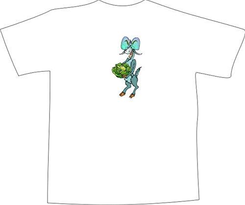 T-Shirt E858 Schönes T-Shirt mit farbigem Brustaufdruck - Logo / Grafik - Comic Design - verrückter Ziegenbock mit großem Kohlkopf Mehrfarbig