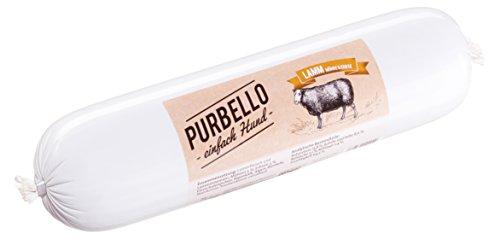 PURBELLO Hundewurst Lamm - 8 x 800 g - Monoprotein Hundefutter mit hohem Fleischanteil - Nassfutter für Hunde - Schnittfest & Getreidefrei (6,4 kg)
