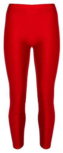 Re Tech UK - Mädchen Leggings - für Gymnastik, Tanzen & Ballett - glänzend - elastisch - Rot - 9-10 Jahre (Vereinigtes Königreich Kostüm Mädchen)
