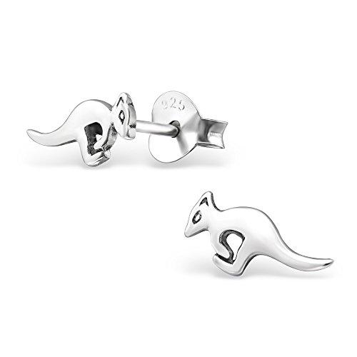 925 Silber Känguru Ohrringe offen von Monkimau, Kinder-Schmuck, Sterling Silber, Damen, Frauen, Mädchen-Ohrstecker (Silber) (Känguru-tasche Geldbeutel)