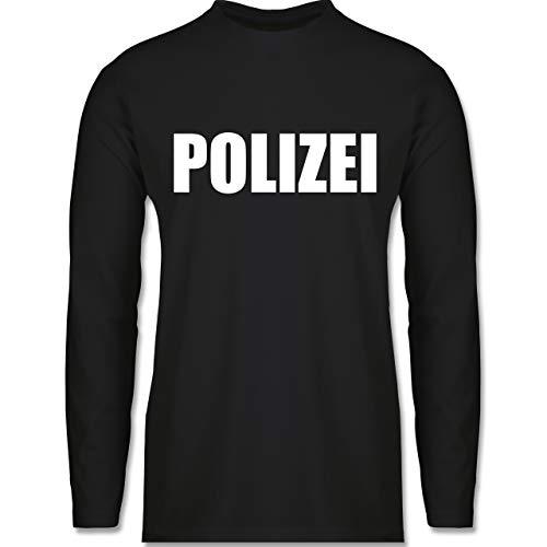 & Fasching - Polizei Karneval Kostüm - S - Schwarz - BCTU005 - Herren Langarmshirt ()