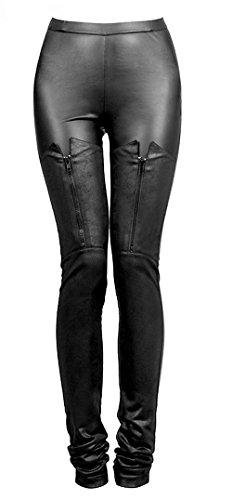 Leggings-Pantaloni, colore nero, elegante, stile gotico, chiusura con decorazione rock Punk Rave PK-0 nero Medium