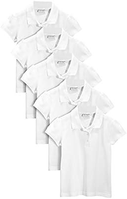next Niña Júnior Paquete De Cincos Camisas Polo Blancos De Algodón (3-16 Años)