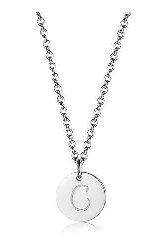 BE STEEL Edelstahl Halskette für Herren Damen Alphabet Halskette Initiale Kette Männer Buchstaben C Silberton 46+5CM