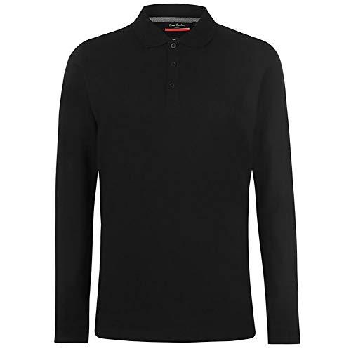 Pierre Cardin Mens Neue Saison langarm Klassisches Premium Polo T-Shirt anbringen. (Groß, Schwarz) -