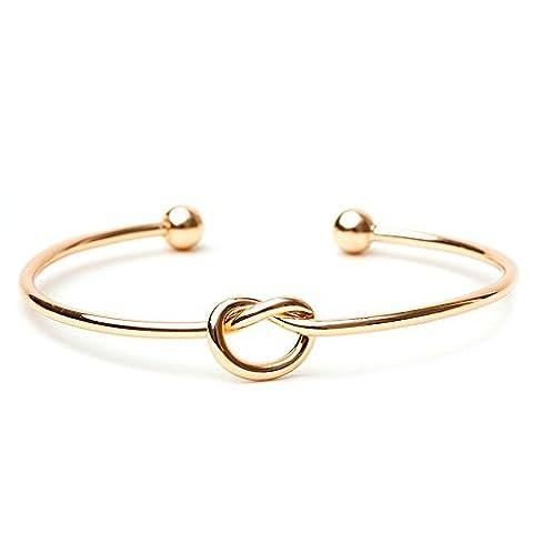 bodya Amour noeud Bracelet jonc simple Noeud Bracelet jonc ouvert bracelet élastique poignets pour femme noeud argent et or Bracelets - doré
