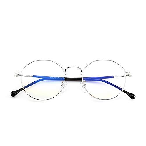 Yangjing-hl Trend unregelmäßigen Brillengestell Polygon Flachspiegel Metall Vollformat Brillengestell Silberrahmen