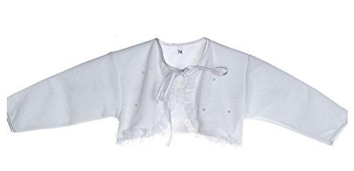 Bolero Jäckchen für Baby Taufe in Weiß, in Größen 56, 62, 68, 74, 80, 86, Festliche Anlass, Hochzeit uzw.R3/25-30R3/25-30K (Gr. 80 - Weiß)