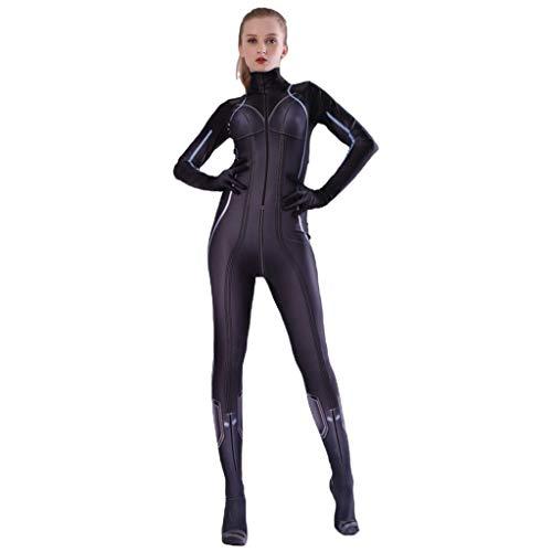 Von Frauen Marvel Kostüm - QWEASZER Marvel Avengers Black Widow Kostüm Film Kostüm PS4 Anime Zentai Kostüme Frauen Superheld Cosplay Overall Onesies,Black-150~160cm