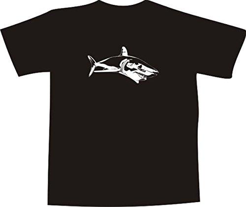 T-Shirt E371 Schönes T-Shirt mit farbigem Brustaufdruck - Logo / Grafik - minimalistisches Design - ganzer weißer Hai im Wasser Schwarz