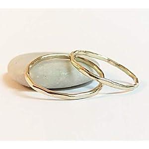 FloweRainboW Dünne Eheringe 585 Gold Hochzeitsringe/Trauringe/Verlobungsringe – Damen/Männer – Gehämmert und Facettiert