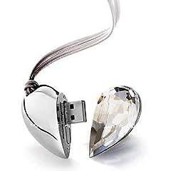 Idea Regalo - Cuore USB 2.0, gioiello Cuore di Cristallo Elegante chiavetta USB 2.0 da 16GB/32GB/64GB/128GB, Flash Drive, Scheda di Memoria Archiviazione Dati, il miglior regalo per gli innamorati (128 GB, ARGENTO)