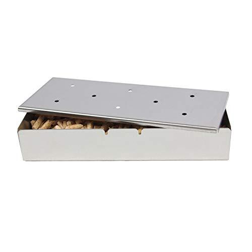 KAMaster Räucherbox für BBQ Grill Holzspäne Edelstahl BBQ Zubehör für Kohle & Gasgrill Fleisch Rauchen Grillzubehör & Utensilien Geschenk für Papa (Von Rauchen Das Fleisch-zubehör)