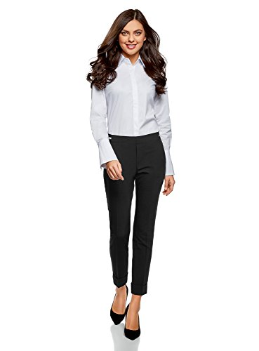 oodji Ultra Damen Hose mit Elastischem Bund und Aufschlägen Schwarz (2900N)