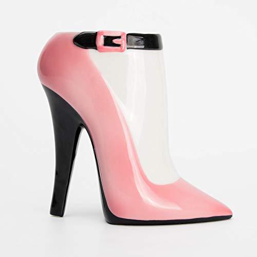 el & groove High Heel Tasse groß pink schwarz in 3D, Kaffee-Tasse 350 ml (450ml randvoll), Tee-Tasse Stiletto aus Porzellan in pink...