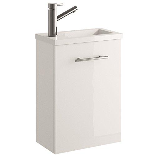 Cygnus Bath Mini - Mueble lavamanos de baño, suspendido, con 1 puerta de cierre amortiguado, color brillo lacado
