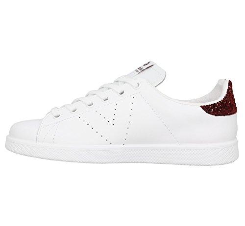 Victoria Deportivo Basket Piel, Sneakers Basses mixte adulte Blanc Bordeaux