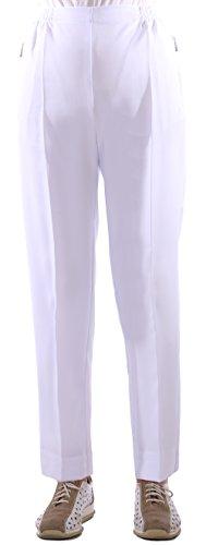 FASHION YOU WANT Damen Seniorenhose Schlupfhose mit Gummizug Kurzgröße ideal für pflegebedürftige Omas einfach anzuziehen und super pflegeleicht (48/50, weiß)