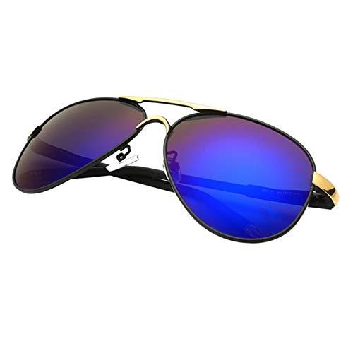 LKVNHP Klassische Mode Polarisierte Sonnenbrille Männer Bunte Reflektierende Farbfolie Driving Shades Sonnenbrille Retro Brillen OculosBlau Und Gold