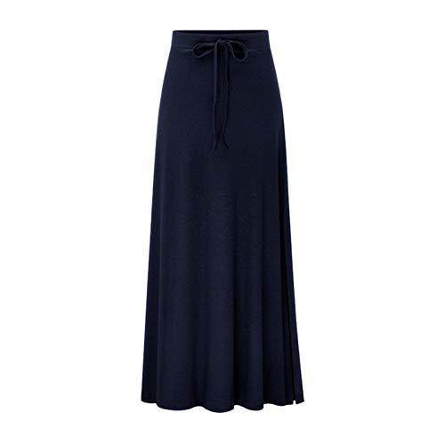 High-slit Skirt (Elonglin Damen Lange Rock Stretch Bleistiftrock Maxirock Strickrock Schleife Casual Seite Schlitz High Slit Skirt Groß Größe Dunkel Blau (Asie 2XL) Für 65-72.5kg)