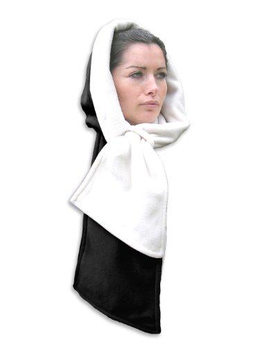 Echarpe Capuche Reversible Polaire Noir et Blanc