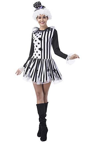 (MingoTor Damen Zirkus Direktorin Kostüm Joker Schwarz-Weiß Harlekin Dresseurin Kleid Cosplay)