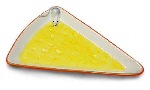 handgemachter dreieckiger Servierteller aus italienischer Keramik im Käsedesign, Käseplatte ca. 28 cm