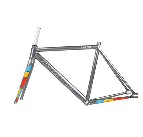 WANGYONGQI Fahrradrahmen mit Fester ausrüstung 50 cm 52 cm 54 cm rennradrahmen aus Aluminium rennradrahmen von Fixie,Grau,50cm