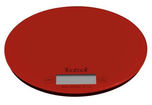 Yoocook YC73204 Elektronische Küchenwaage, rund, Rot