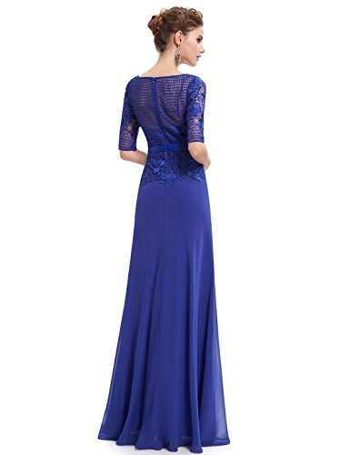 Ever Pretty Robe de cocktail Maxi Col Rond en Manches Courtes 08706 Bleu Saphir