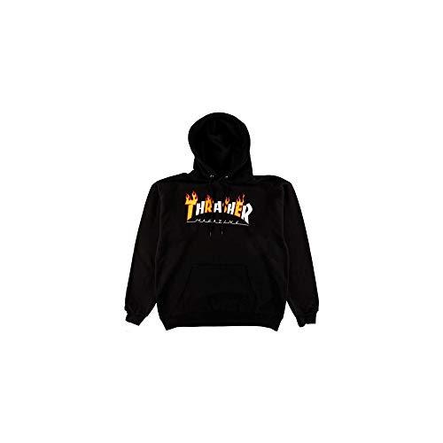 informazioni per c150e e6c08 THRASHER Felpa cappuccio Flame Mag Hood nera (L)
