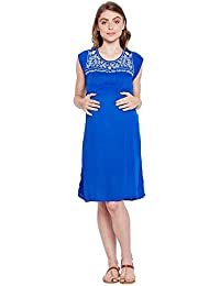 f793894ea68 oxolloxo Women Scoop Neck Blue Embroidered Maternity Dress (Short Sleeves)