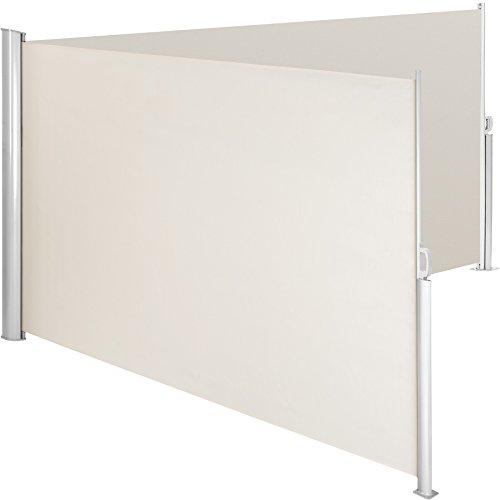 Tectake doppia tende da sole paravento laterale frangivento estensibile corpo e assistenza post interamente in alluminio - diversi colori e misure - (beige | 180x600cm | no. 402336)