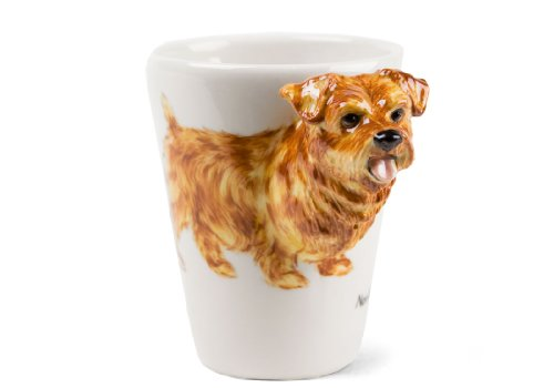 Norfolk Terrier Kaffeetasse handgefertigt Tan 225g (10cm x 8cm)