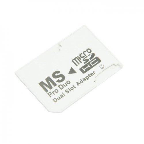 Dual Slot MicroSD TF zu MS Memory Stick Pro Duo Adapter Sony PSP & Handy cablecc
