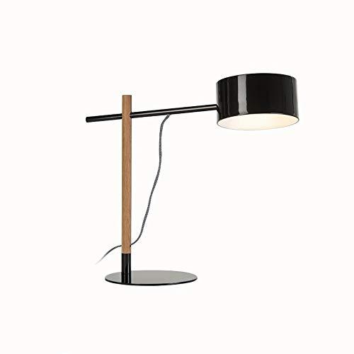 LDDEND Nordic Kreative Persönlichkeit Studie Schlafzimmer Nachttischlampe College Kinder Studie Tisch LED Leselampe Einfache Design Rassel Stil Gerade Arm Tischlampe Weiß Schwarz Rot (Color : Black) -