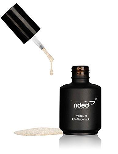 nded Premium Vernis Semi-Permanent Paillettes Extrêmes, Or blanc, 15 ml, faible viscosité, or, blanc, adapté UV, LED approprié, sans acide