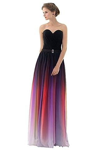 Engerla Longue robe de soirée sans manches pour femme Bustier Froncée Rembourrée Dégradé de couleurs Maxi En mousseline de soie - multicolore - 40