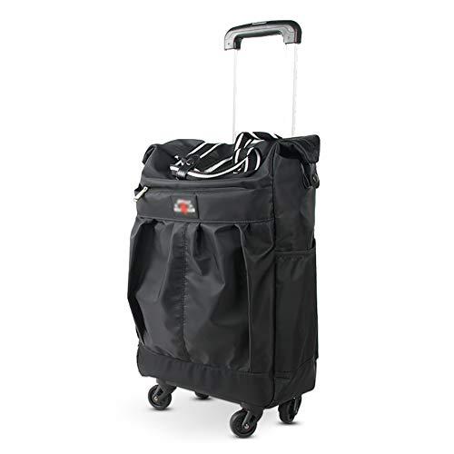 Einkaufstrolleys Lebensmittelgeschäft-Gebrauchs-Laufkatze mit Rad faltbarem Einkaufskorb bauscht teleskopisches Aluminiumzug-Stangen-Gepäck (Farbe : SCHWARZ)