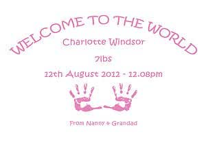 Personalised Welcome To The World New Born Baby Gifts Boy Girl Print - Print Type : Girl Pink - Finish : Gloss -Size : 10X15Cm