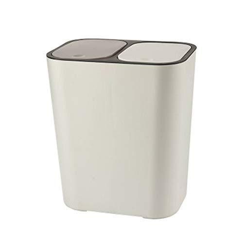 Baifeng Bote de Basura Rectangular Plástico Interruptor Doble Compartimento 12liter Reciclaje Cubo de Basura Basura Lata - Blanco