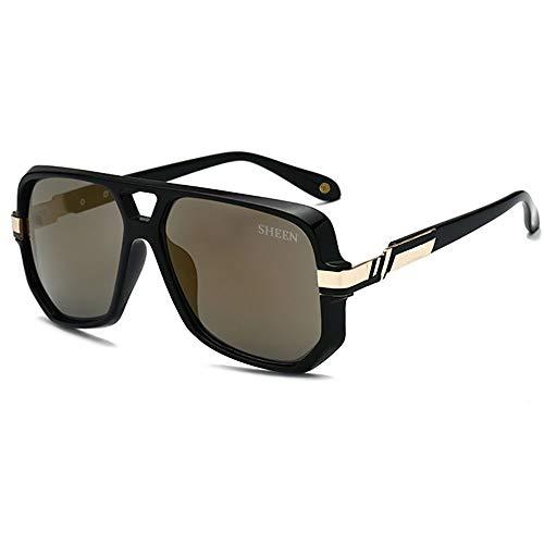 SHEEN KELLY Große Retro Pilot Sonnenbrille Gold Schwarze Männer Quadrat Rahmen Sonnenbrille Mutiger piloten-sonnenbrille Sport Luxus Gradienten Linse
