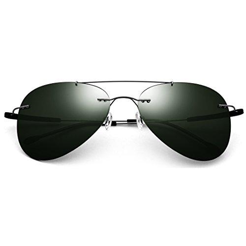 LBY rahmenlose Sonnenbrille Herren polarisierte Sonnenbrille Ultra Light Brille Damen Tide Spiegel Herren Sonnenbrille Gun Frame/Green Lens