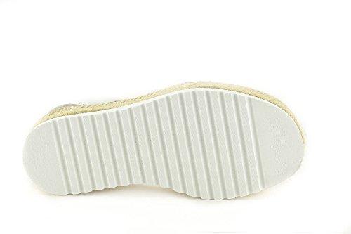 CONBUENPIE Donna 8374 Avarcas in stile Minorca Bianco