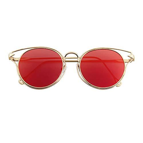 LKVNHP Sonnenbrille Spiegel Sonnenbrille für männer Frauen Damen Aviator Sonnenbrilleroten Spiegel