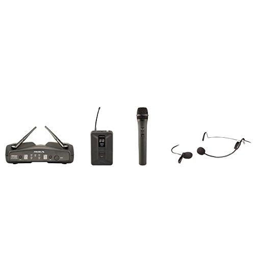 PROEL WM600DKIT - Sistema Microfonico Wireless Dual Channel PLL UHF a frequenza selezionabile con microfono Gelato + Archetto e Pulce + Cavo Jack 6.3 Mono di collegamento, Nero