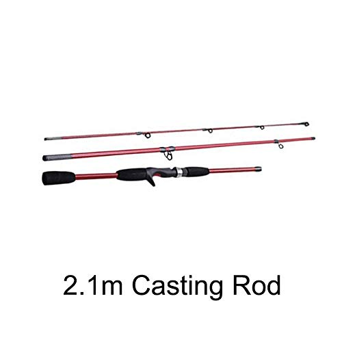 LMEI-QUN, 1,8 mt 2,1 mt Casting Angelrute M Power Baitcasting Rute Locken Angelgerät Pole Pesca Medium Fast (Color : Hellgrau)